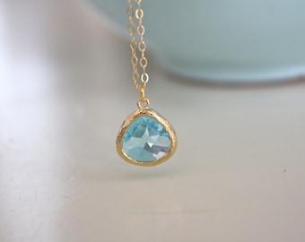 March Birthstone, Aquamarine Necklace, Gold Necklace, Aqua Necklace, Bridesmaid Necklace Dainty Gold Necklace Birthday gift Bridesmaid Gifts