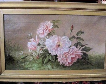 Antique Painting Roses Oil Canvas Daisies