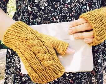 Womens Gloves, Knit, Knitted Gloves, Women's Knit Gloves, Women's Texting Gloves, Mustard Fingerless Gloves, Yellow || DOUBLE CABLE GLOVES