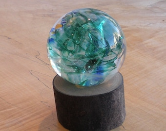 Large Glass Marble and Wood Stand by Jonathan Winfisky -Paperweight