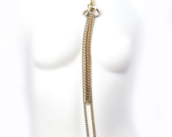 Tassel Chain Choker Long Chunky Necklace  w. Charm Fringe - Golden Statement Necklace - Cleopatra - Sexy & Long Body Jewelry  - Gossip Girl