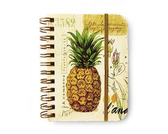 Pineapple Small Notebook, Small Pineapple Journal, Pineapple Spiral Notebook, Pineapple Illustration, Pineapple Print