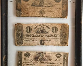 Antique Banknotes Three Framed 19th Century American notes.
