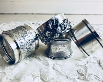 Silver Napkin Rings Antique Plate
