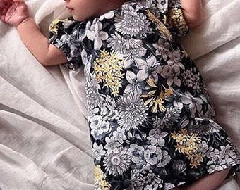 Newborn Toddler Infant Baby Peasant dress 0-3 - 2T Months Floral Black Gray White Yellow