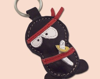 Handmade Black Ninja Leather Keychain - FREE Shipping Worldwide - Leather Ninja Bag Charm