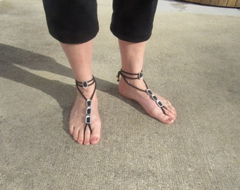 Bohemian Barefoot Sandals - Handmade.  Bare feet are HAPPY feet!  Earthing and stylish too!