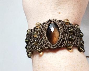 Faceted Smoky Quartz Macramé Cuff Bracelet
