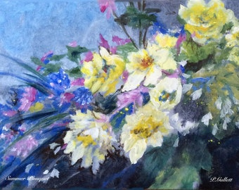 Summer Bouquet Giclee Print Archival Ink Premium Resin Luster Paper Breath of Springtime Colorful Flowers Brighten Peaceful Home P Gullett