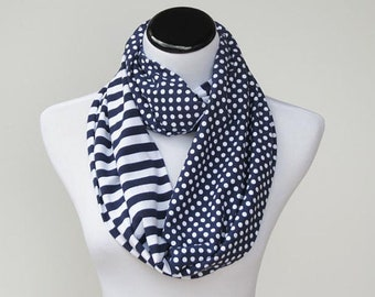Navy Blue White Scarf Infinity Scarf polka dots and stripes scarf - circle loop scarf gift idea for women & teen girl