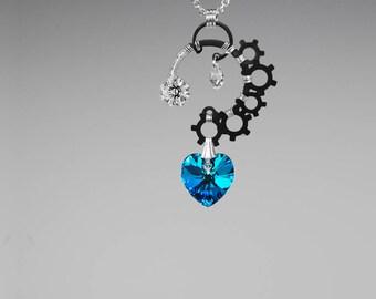 Industrial Swarovski Crystal Pendant, Bermuda Blue Crystals, Industrial Jewelry, Swarovski Necklace, Blue Crystal Necklace, Neptune v13