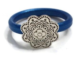 Flower Bracelet, Silver Flower Bracelet, Floral Bracelet, Leather Flower Bracelet, Floral Jewelry Flower Jewelry Flower Bangle PPP TEAMUNITY