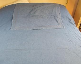 DUVET ...Reversible Queen Duvet  Blue Denim like Ribbed cotton w Pillow sham 86 x 86 in