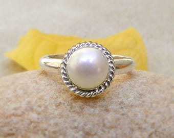 Sterling Silver Pearl Ring Wedding Jewelry freshwater pearl gift for wife 925 solid silver ring white pearl Christmas gift pearl ring
