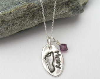 Footprint Necklace With Birthstone Charm, Your Child's Actual Footprint, Baby Foot Print