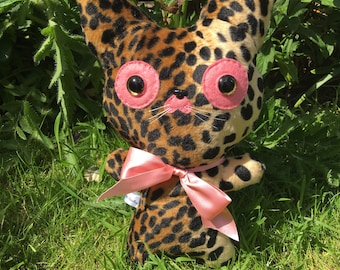 Leopard Plush Toy Kawaii Plushie Weird Stuffed Animals Cat OOAK Art Toys Collectible Gifts