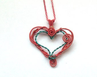 Heart Necklace, Wire Wrapped Red Heart Pendant, Wire Wrapped Jewelry, Valentines Jewellery, Handmade Wire Necklace, OOAK, Gift For Her