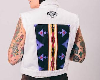 vintage white denim vest | medium | Aztec patch | the Jack vest