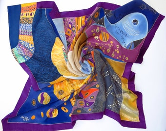 Klimt silk scarf. Natural silk Hand painted silk scarf in yellow, magenta, blue painted silk. Batik scarf silk painting. Luxury Silk shawl