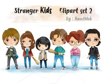 Cute Stranger kids characters set 2 clipart, Instant Download,PNG file - 300 dpi