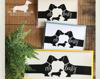 Oh Baby Doxie. Note Card -- (New Baby, Baby Shower Card, Mom To Be, New Mom, Expecting, Dog, Dachshund, Vintage-Style, Weiner Dog, Rustic)