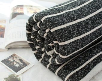Brushed French Terry Knit Fabric Charcoal & Ivory Stripe