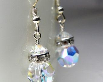 Drop Crystal Earrings, Round Swarovski Ball, Sterling Silver, Bridesmaid Wedding Handmade Jewelry, Clear Bridal Dangle, Spring Fashion