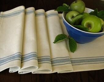 Farmhouse Table Runner - Grain sack Table Runner - Country Table Decor - Natural-Off White and Country Blue Stripe Runner