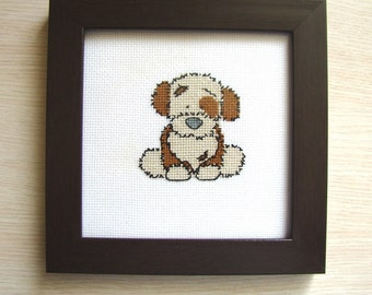 Cross stitch Dog, Puppy Picture, Wall décor, Décor nursery, Gift for children
