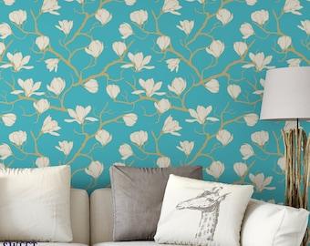 Blue Skies Magnolia Removable Wallpaper / Japanese floral self adhesive wallpaper / modern temporary wallpaper B166-27