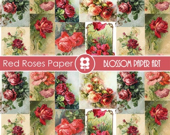 Red Roses Digital Paper Vintage Roses Collage Sheet - Antique Illustrations - Red Flowers - Digital COllage Sheet - 1862