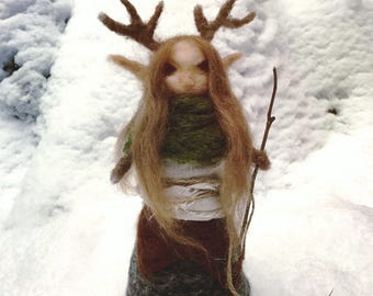 Needle felted antlered goddess deer mother elen of the Ways