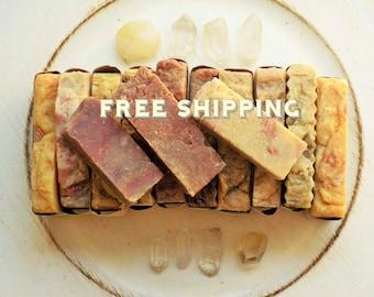 Free Shipping - Handmade Soap - 3 Soap Samples - Hot Process Soap - Cold process Soap - Handmade Soap All natural soap