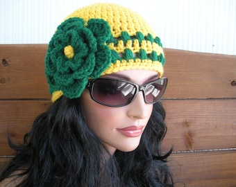 Womens Hat Crochet Hat Winter Fashion Accessories Women Beanie Hat Cloche in Mustard Yellow with Green Stripes and Flower