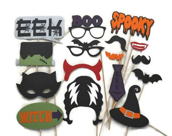 Halloween Photo Booth Props - 16 Piece Set - Halloween Party Decorations - Halloween Birthday Party - Photobooth Props - Laser Cut