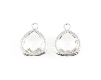 2pcs Clear Faceted Glass Charm in Rhodium, Framed Drop Glass Bead / Birthstone / April / Crystal / 10.5mm x 14mm / GCLRH-003-P (Small)