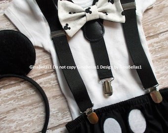 Mickey Mouse Birthday cake smash outfit black and white vintage Ears Suspenders diaper Cover bowtie costume photo 9 12 18 24 toddler