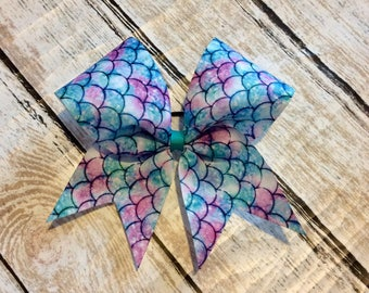 Mermaid Cheer Bow/mermaid bow/cheer bow/softball bow/soccer bow/mermaid