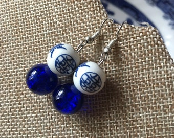 Asian Bead Earrings Cobalt Blue and White Porcelain by RICHARME