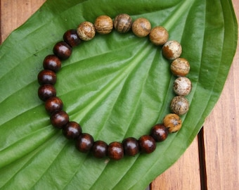 Yogi inspired Buddha bracelet with wood beads and pure jasper for men