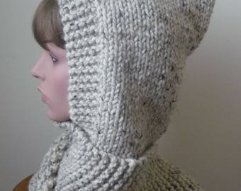 Hooded Scarf Chunky Knit Scoodie Teen Adult Warm Hooded Scarf - Oatmeal - Ready to Ship - Direct Checkout - Gift for Her