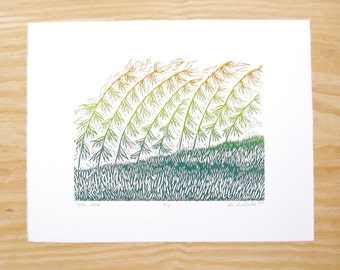 "Woodblock Print - ""Over Here"" - Blendroll Sideoats Grama - Plant Print"