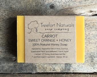 Carrot Sweet Orange + Honey Soap - Handmade Cold Process, Organic,  All Natural, Local Honey, Essential Oils