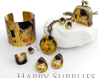 1pcs (JS01) Gustav Klimt Art Handmade Antique Bronze Brass Photo Jewelry Cuff / Locket / Purse / Ring / Glass Cabochon Set