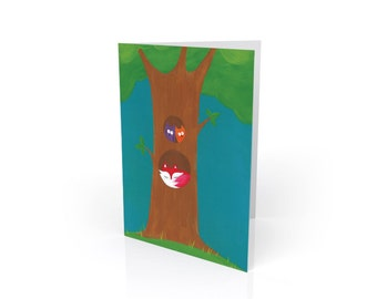 Friendship Tree Owls and Fox Blank Greeting Card & Envelope