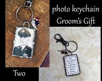 Groom's Gift, Memorial Photo Keychain, Wedding Charm, Soldered Glass, Picture Pendant, Bridal Party Charm, Father of Groom or Bride