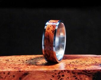Black Cherry Burl wood inlay and Titanium ring Cherry Burl Inlay ring Black Cherry Burl ring wedding band wood inlay ring metal and wood