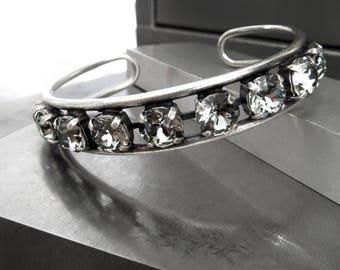 Swarovski Crystal Rhinestone Bangle in Black Diamond, Charcoal Grey Chaton Crystal Stone Antiqued Silver Bangle, Adjustable Size Bangle