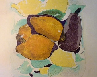 George Braque Lemons - art print - gift for artists  art lovers - Impressionism yellow and blue framable