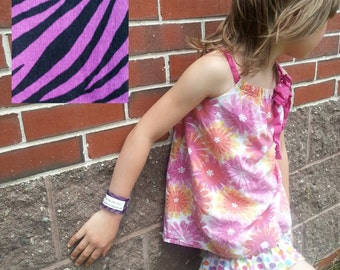 Kid's Safety ID Medical Alert Fabric Wristband - Purple Zebra Stripes